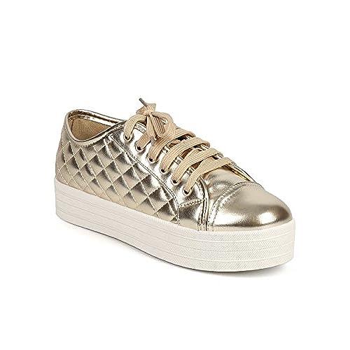 Breckelle's DI86 Women Metallic Quilted Cap Toe Flatform Sneaker - Gold get discount
