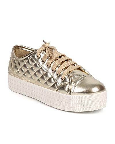 - Breckelle's Women Metallic Quilted Cap Toe Flatform Sneaker DI86 - Gold (Size: 6.5)