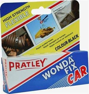 Pratley Rubber Repair - 2 Part Black Epoxy Leather Glue - Adhesive Kit for Couches, Shoe Sole, Boot Heel, Plastic, Car Dashboard and Bumper (Best Plastic Glue For Cars)