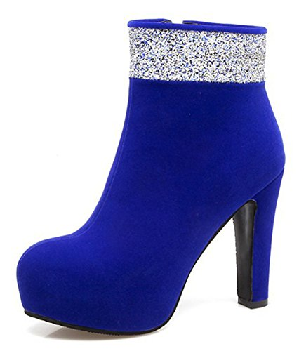 Mariage Boots Bottines Sexy Strass Femme Low Bleu Aisun t4wx67qU
