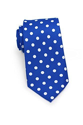 Bows N Ties Mens Necktie Bold Polka Dot Microfiber Satin Tie 3 1 Inches  Horizon Blue And White