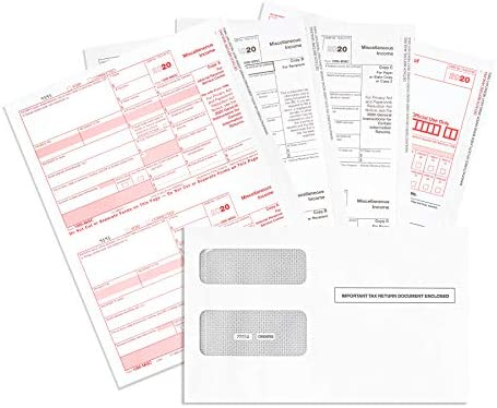 1099 MISC Forms 2020, 4 Part Tax Forms Kit, 25 Vendor Kit of Laser Forms, Compatible with QuickBooks and Accounting Software, 25 Self Seal Envelopes Included