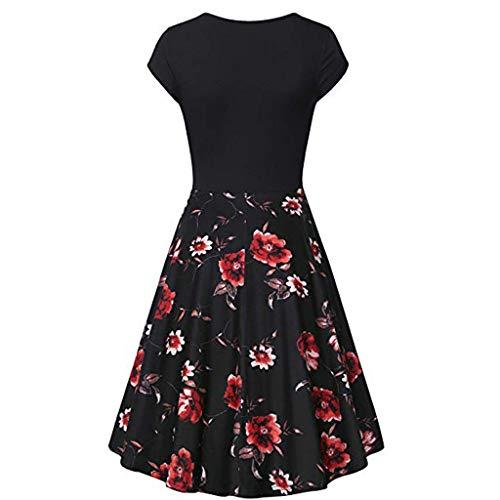 Ribbed Cap Sheer (Xinantime Cross V- Neck Dresses Women Short Cap-Sleeves Vintage Elegant Flared A-Line Dress 1920's Retro Dress Black)