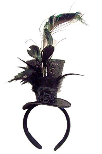(Black Sequins Steampunk Top Hat with Feathers Halloween Headband Costume)
