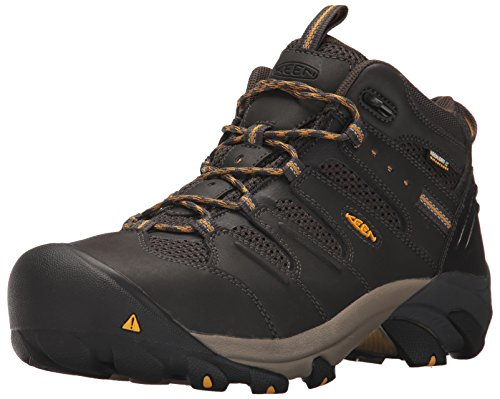 (Keen Utility Men's Lansing Mid Waterproof Industrial and Construction Shoe, Raven/Tawny Olive, 8.5 D US)