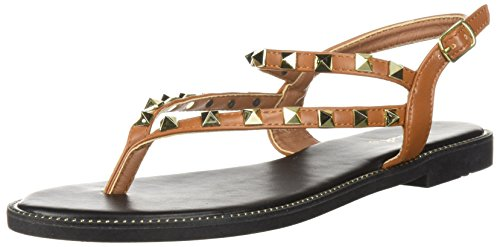 - Qupid Women's Thong Sandal with Studs Flat, Camel, 8 M US