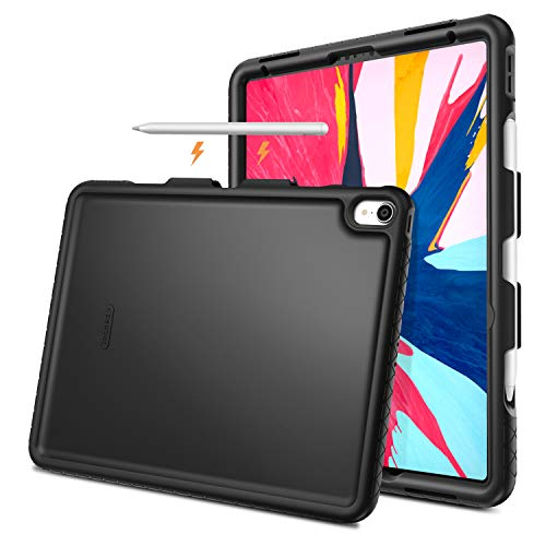 Fintie Case for iPad Pro 12.9 3rd Gen 2018 [Supports 2nd Gen Pencil Charging Mode] - [Mighty Shield] Heavy Duty Shock Proof Kids Friendly Silicone Back Cover w/ [Secure Pencil Holder], Black
