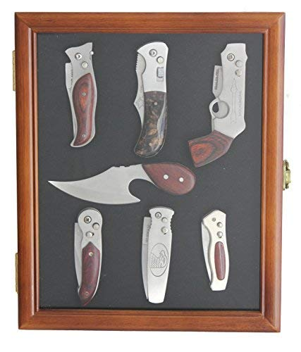 Knife Display Case shadow box, with glass door, Wall Mountable (Walnut Finish)