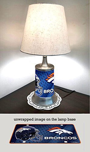 IS Table Lamp with shade, Denver Broncos plate rolled in on the lamp base