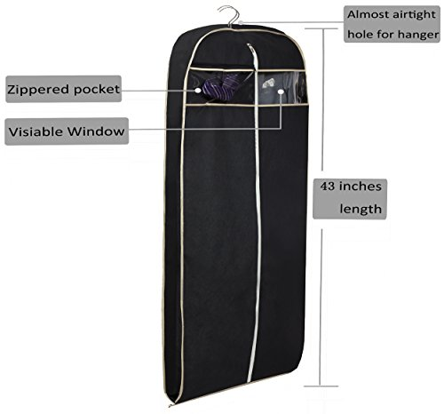 MISSLO 43'' Gusseted Travel Garment Bag with Accessories Zipper Pocket Breathable Suit Garment Cover for Shirts Dresses Coats, Black by MISSLO (Image #5)