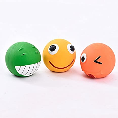 COOLPOW 3pcs juguete pelota látex perro Squeaky Toy bola Pet ...