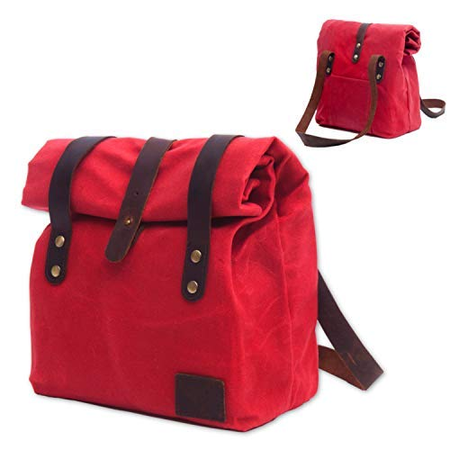 (Natural Unique Waterproof Lunch Bag for Women | Reusable Waxed Canvas Lunch Box | Picnic Bag | Work Bag for All Ages | Take Your Healthy and Fresh Lunch with)
