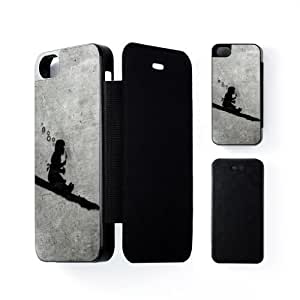 Banksy Girl Black Flip Case Snap-On Protective Hard Cover for Apple? iPhone 5 / 5s by Banksy + FREE Crystal Clear Screen Protector