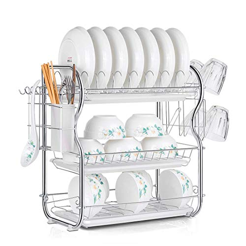 Dish Drying Rack 3-Tier Chrome Dish Drainer Rack Kitchen Storage with Drainboard and Cutlery Cup 16.5 x 9.8 x 17.7 IN