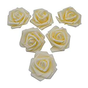 YONGSNOW Artificial Flower 6cm DIY Real Touch 3D Fake Foam Rose Head Without Stem for Wedding Party Home Decoration Pack of 50 96