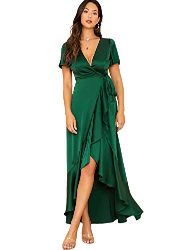 SheIn Women's V Neck Solid Satin Dress Split Sleeve Wrap Maxi Party Evening Dress Green Large