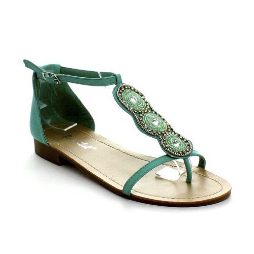 BONNIBEL NUNA-1 Women's T-strap Rhinestone Low Heel Ankle Strap Thong Sandals, Color:MINT, Size:8