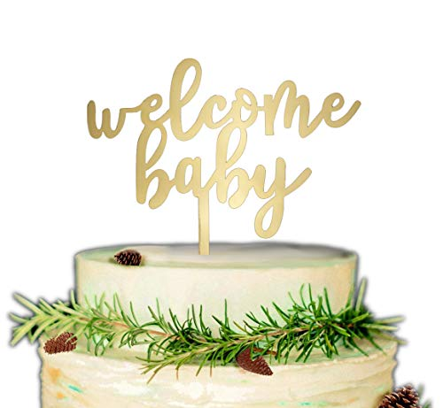 Welcome Baby Cake Topper, Baby Shower or Gender Reveal Party Decorations (Gold) -