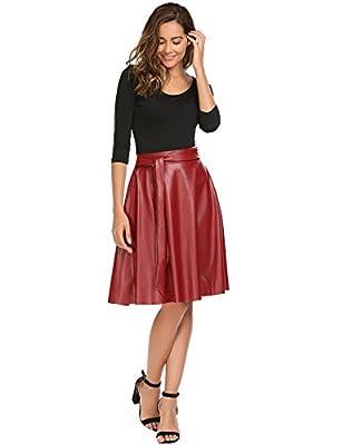 ANGVNS Women's PU Leather Midi Skirt Pleated High Waist Swing Skate Skirt with Belt