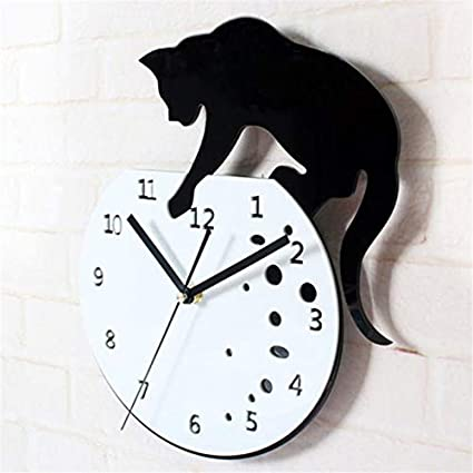 Amazon.com: Cat on Digital Clock Acrylic Slient Wall Clock Modern Design Home Decorative Clocks for Home Office Wall Decor 9J18: Home & Kitchen