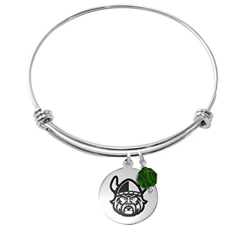 Cleveland State Vikings Stainless Steel Adjustable Bangle Bracelet with 17mm Round Charm & Crystal - Cleveland Stainless Bracelets Steel