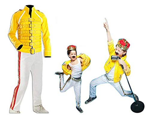 Spazeup Freddie Mercury Yellow Wembley Concert Kids Costume | Freddie Mercury Leather Pants | Freddie Mercury Leather Jacket]()