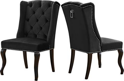 Meridian Furniture 772Black-C Suri Collection Modern | Contemporary Black Velvet Upholstered Dining Chair with Wood Legs, Luxurious Button Tufting, Nailhead Trim, Set of 2, 23