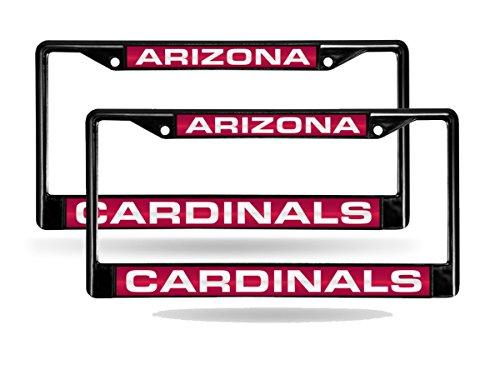(Rico Arizona Cardinals NFL Black Metal (2) Laser License Plate Frame Set)
