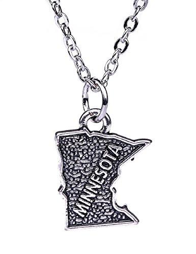 Stylish Classic Antique Silver Minnesota Map Pattern Pendant Necklace Jewelry