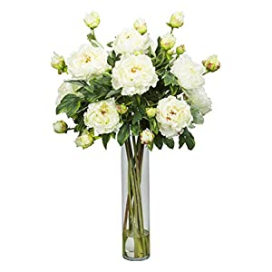 Artificial Flowers -White Peony with Cylinder Flower Arrangement Silk Flowers 51