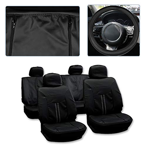 Touring Seat Leather - SCITOO Universal Black Car Seat Cover w/Headrest/Steering Wheel Cover/Shoulder Pads 12PCS Breathable Semi-PU Leather Retractable Auto Seat Cover Replacement for Most Cars