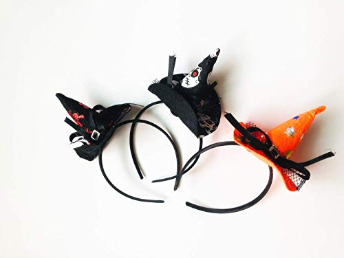 3 Pcs Halloween Witch Headband Witch Hat Skeleton Hair Clip Halloween Decorations ()