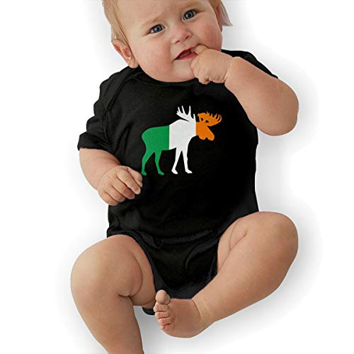 U88oi-8 Short Sleeve Cotton Bodysuit for Baby Boys and Girls, Fashion Ireland Moose Crawler Black -