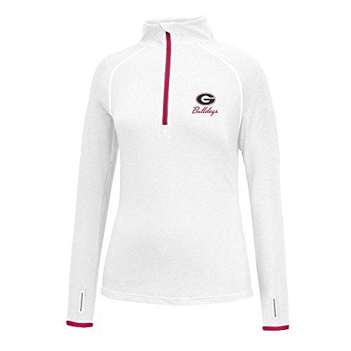 Ncaa Georgia Bulldogs Womens Script Logo Power Through Poly 1 2 Zip Sweater  Small  White Red