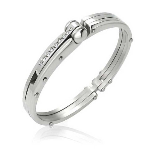 (Bling Jewelry Partner in Crime Handcuff for Mens for Women Bracelet Bangle Cubic Zirconia Accent Silver Tone Stainless)
