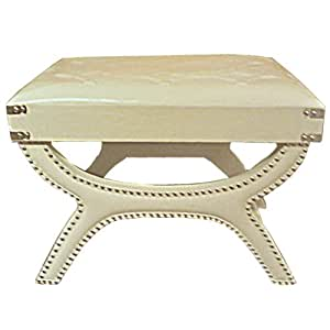 White Faux Leather Ottoman, 16.5 Inch High