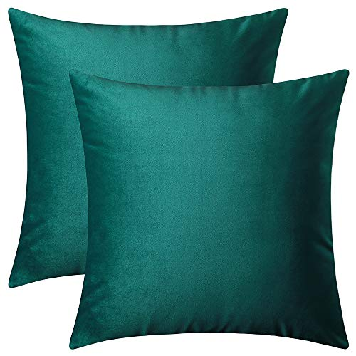 (Artcest Set of 2, Decorative Square Velvet Throw Pillow Cases for Bedroom and Sofa, Soft Solid Cushion Covers for Couch and Car, 18