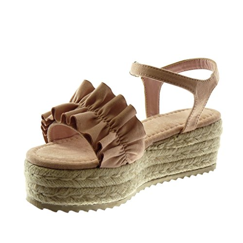 Braided Women's Cord 6 Platform Platform Angkorly 5 Shoes Pink Strap cm Fashion Sandals Ankle Wedge Mules Ruffle 1pFwBT