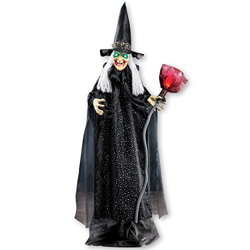 Collections Etc Animated Motion Activated Witch with Broom Halloween Outdoor Décor, Lighted Green Eyes, Life-Size 6 feet tall