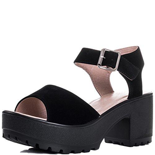Spylovebuy Platform Block Heel Sandals Shoes Black Suede Style SZ 4 (Sandal Platform Style)
