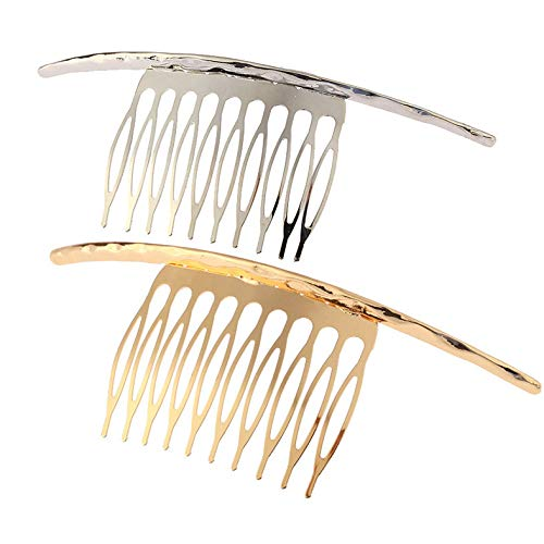 (2Pcs French Twist 10 Teeths Comb Alloy Metal Bridal Wedding Hair Side Comb Headpiece Hair Jewellery Fashion Accessory for Women Girls, Gold and Silver )