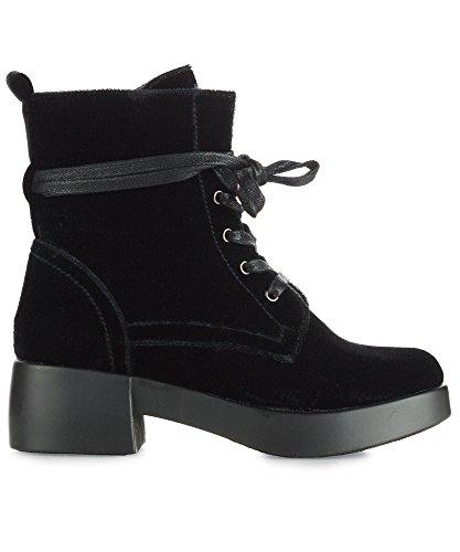 Room Of Fashion RF Women's Vegan Velvet Lace up Platform Heel Combat Boots - stylishcombatboots.com