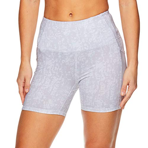 Bright Spandex Shorts - Gaiam Women's Yoga Short - Performance Spandex Compression Workout & Training Shorts w/Phone Pocket - Bright White, X-Large