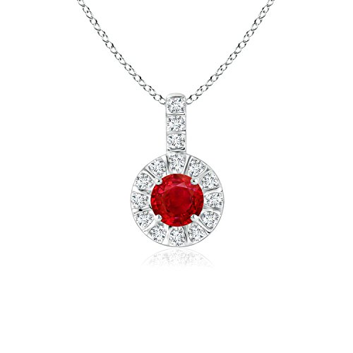 Vintage Ruby Halo Pendant with Diamond Bail in 14K White Gold (4mm - Pendant 14k Diamond Aaa Ruby
