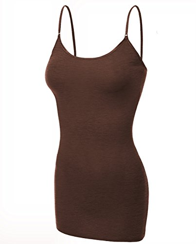 Emmalise Clothing Women's Basic Casual Plain Long Camisole Cami Top Tank, Heather Rust, Small