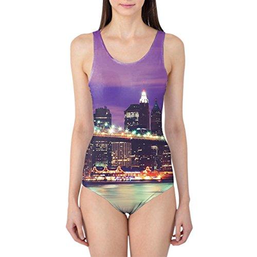Ciudad de Nueva York de noche de la mujer Bañador XS-3X L una pieza