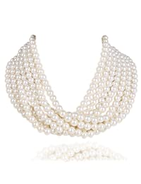 Kalse 7 Layers Strands Simulated Pearl Beads Choker Necklace 14 inch White Black