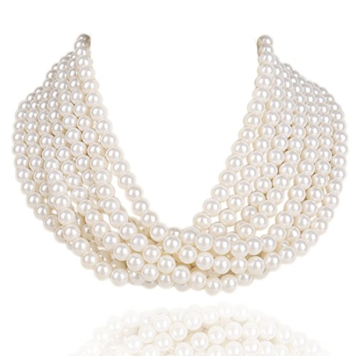 Kalse 7 Layers Strands Simulated Pearl White Beads Short Choker Necklace (Updated Clasp Style) -