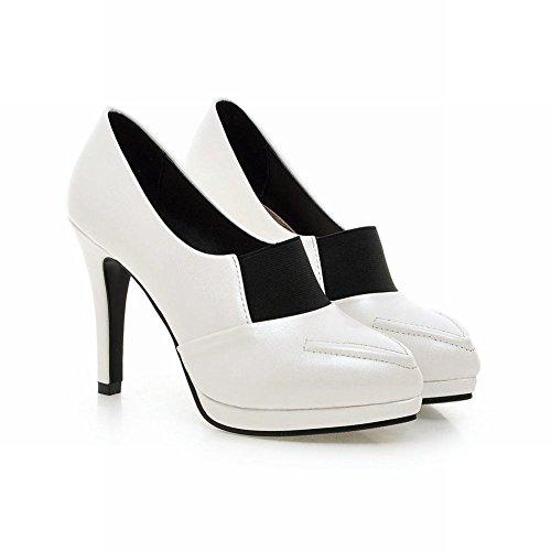 MissSaSa Damen high-heel Pointed Toe Plateau geschloseen Pumps modern und bequem Trichterabsatz Kleidschuhe Weiß