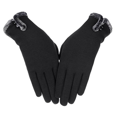 Knolee Women's NEW Fashion Touch Screen Warm Winter Thick Gloves With Button,Black